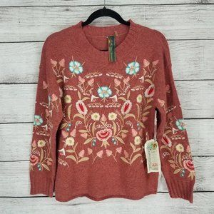 NWT Aratta Silent Journey XS Embroidered Sweater